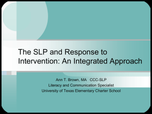 The SLP and Response to Intervention_An Integrated Approach