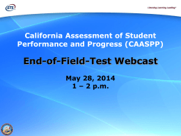 2014 End-of-Field-Test Webcast