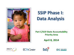 (SSIP) Phase I: Data Analysis - The Early Childhood Technical