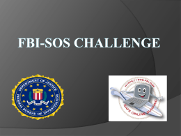 FBI-SOS Challenge - National Center for Simulation