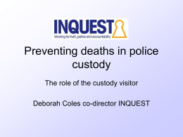 Learning from Deaths in Police Custody