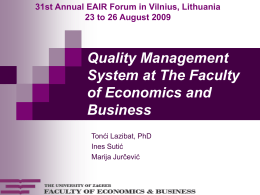 Quality Management System at The Faculty of Economics and Business