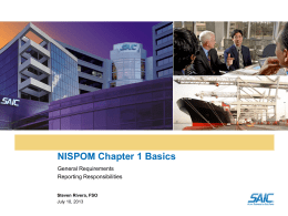 Basics-NISPOM Chapter 1 July 2013