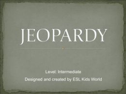 Jeopardy Intermediate Level PowerPoint - Science