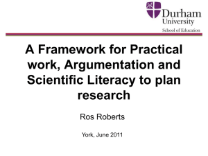 Framework for Practical Work, Argumentation and Scientific Literacy