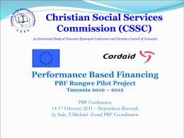 A PBF experience in Tanzania - Performance Based Financing