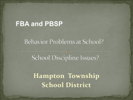 and Behavior Support Plans - Hampton Township School District