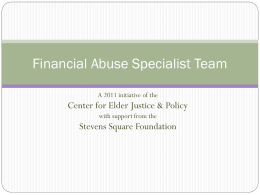 Financial Abuse Specialist Team - Vulnerable Adult Justice Project