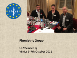 Phoniatric group report - UEMS