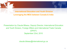 International Education and Youth Division Leveraging the MOU