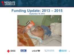 Funding Update 2013-2015 - Measles & Rubella Initiative