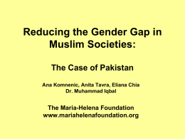 Reducing Gender Gap in Muslim Societies: The Case of Pakistan