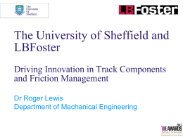 University of Sheffield and LB Foster Innovation in Track & Friction
