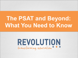 The PSAT and Beyond - Glendale High School