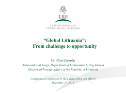 """Global Lithuania"": from challenge to opportunity"