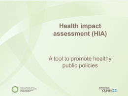 HIA - National Collaborating Centre for Healthy Public Policy
