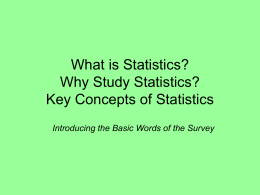 Definitions of key statistical terms