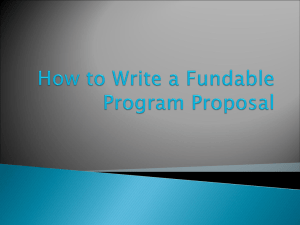 How to Write a Fundable Program Proposal
