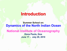 Introduction - National Institute of Oceanography