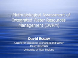 **Methodological Assessment of Integrated Water Resources