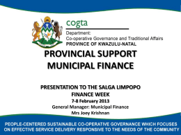 KZN COGSTA Municipal Support Presentation