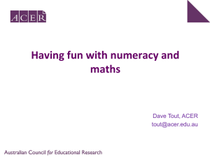 Having fun with numeracy and maths.