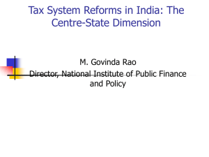 Tax System Reforms in India