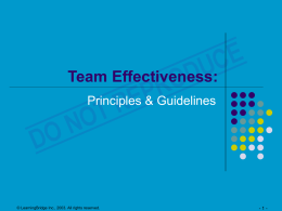Team Effectiveness: Principles and Guidelines