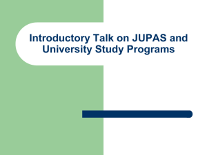 Introductory Talk on JUPAS and University Study Programs (10.11.15)