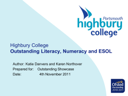 Narrowing the Gap - Highbury College