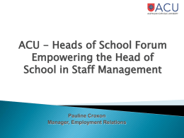 Empowering the Heads of School in Staff Management