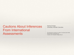 Cautions About Inferences From International Assessments