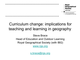 Implications for teaching and learning in Geography