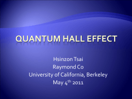 Quantum Hall Effect - University of California, Berkeley