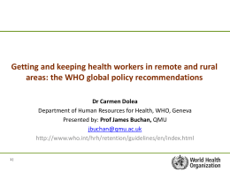 Increasing access to health workers in remote and