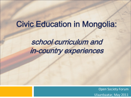 Civic Education in Mongolia - Council for a Community of