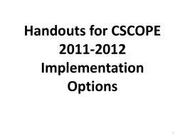 Handouts for - Region 9 ESC