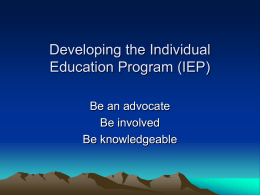 Developing an Individual Education Plan