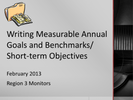 Writing Measurable Annual Goals and Benchmarks/Short