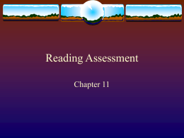Chapter 11- reading assessment