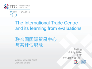 The International Trade Centre and its learning from