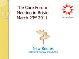 New Routes Community Avenues to Well Being The Care Forum