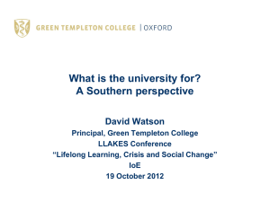 Professor Sir David Watson: What is the University For?