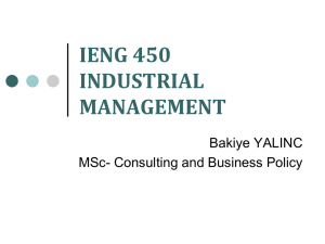IENG 450 INDUSTRIAL MANAGEMENT