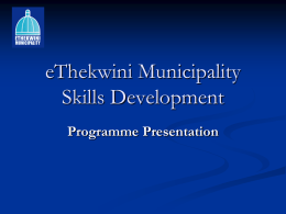 eThekwini Municipality Skills Development
