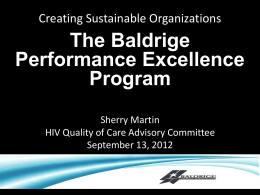 The Baldrige Performance Excellence Program
