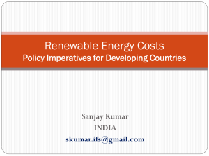 Renewable Energy Costs Policy Imperatives for Developing Countries