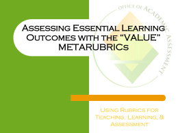 VALUE METARUBRICS - Office of Assessment & Evaluation