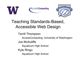 Teaching Standards-Based, Accessible Web Design