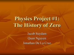 Physics Project #1: The History of Zero